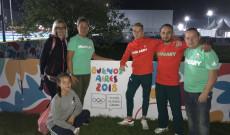 Az olimpián Kikivel, családjával és edzőjével Nagy Zoltánnal