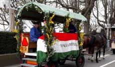 A feldíszített magyar lovas kocsi