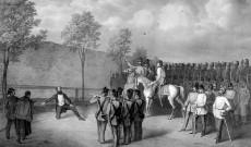 Gróf Batthyány Lajos kivégzése a pesti Újépület udvarán (Forrás: Wikipedia)