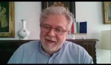 Dr. Gelényi Csaba Buenos Aires-i magyar nagykövet köszöntőt mond a Magyar Tudomány Napja alkalmából szervezett virtuális szimpózium alkalmából (2020. nov. 3.)
