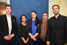 Cseh Csaba, Várkonyi Borbála KCSP ösztöndíjasok, Dallos Emese, a Collegium Hungaricum kulturális referense, Halász Ferenc, Ripka János csellóművész