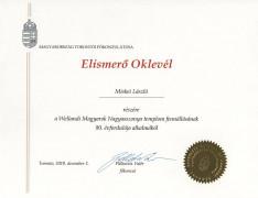 Elismerő oklevelet kapott Miskei László atya Palkovits Valér főkonzultól