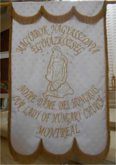 A montreáli Magyarok Nagyasszonya templom zászlója