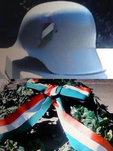 Első világháborús sisak és az emlékezés koszorúja - 2020. május 29.