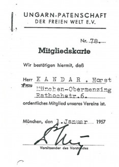 Ungarn Patenschaft der freien Welt e.V. - tagsági igazolvány