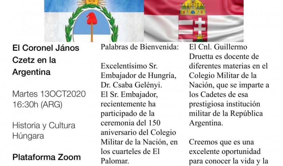 Neves argentin hadtörténész virtuális előadása Czetz János tábornok életművéről
