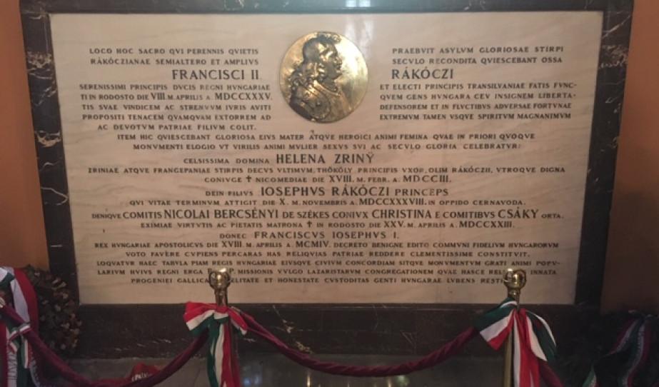 II. Rákóczi Ferenc, Zrínyi Ilona és Rákóczi József sírköve