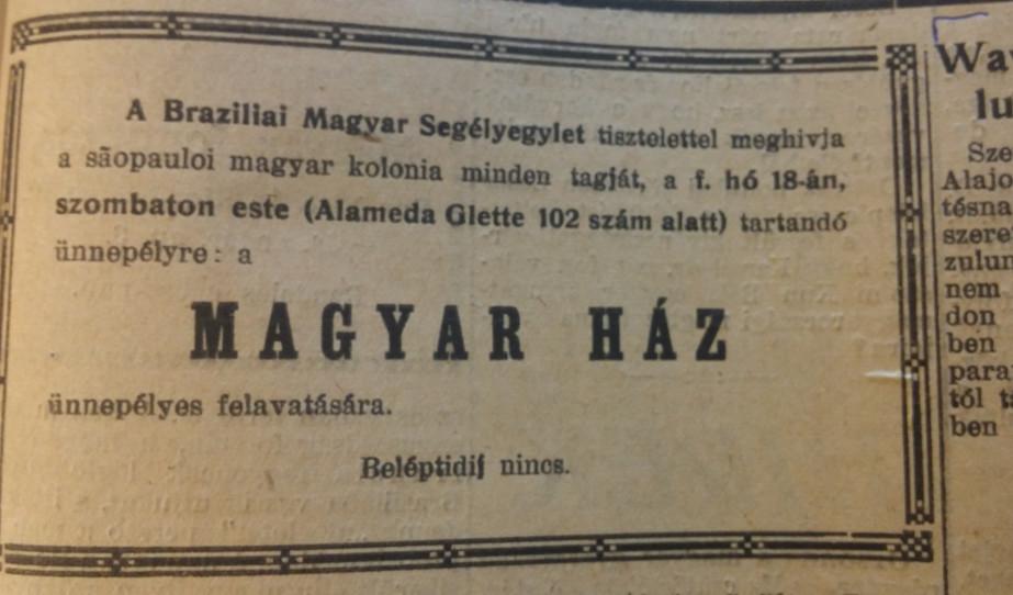 A Magyar Ház egykori felavatásának meghívója