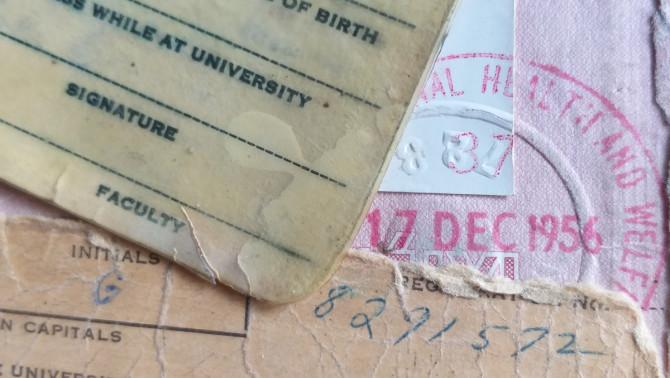 személyes papírok az 1950-es évekből