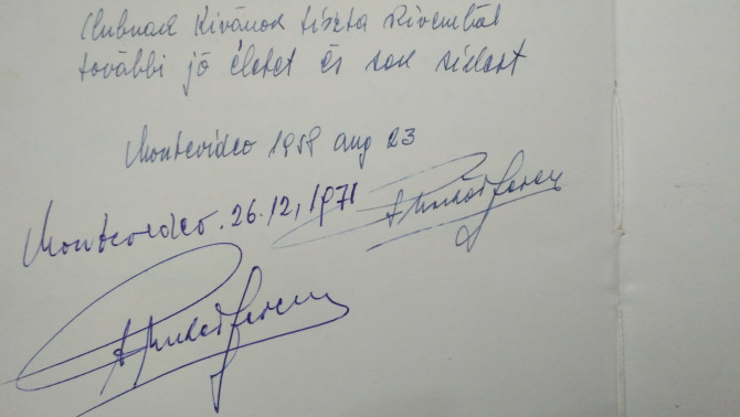 Puskás Ferenc bejegyzései az Uruguayi Magyar Otthon vendégkönyvébe