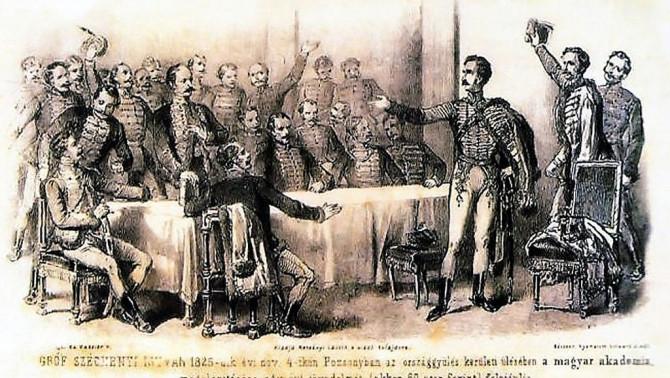 Vinzenz Katzler: Széchenyi István felajánlja birtokainak egyévi jövedelmét egy Tudós Társaság alapítására (litográfia) (Wikipedia)