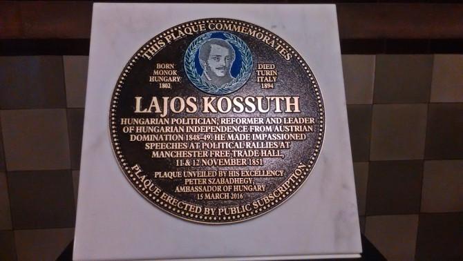 A manchesteri Kossuth Lajos-emlékplakett