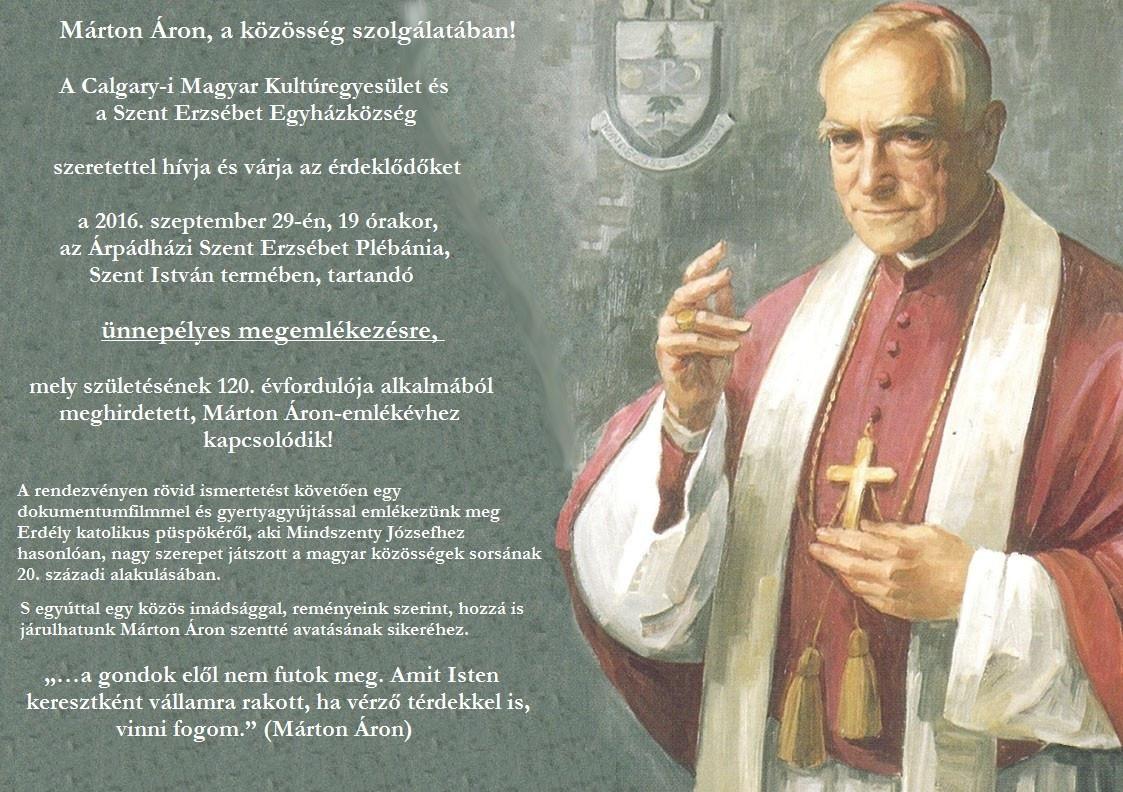 Márton Áron emlékprogramok Calary-ban